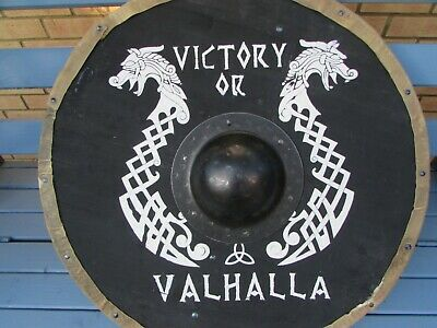 Victory or Valhalla handmade black Viking Shield
