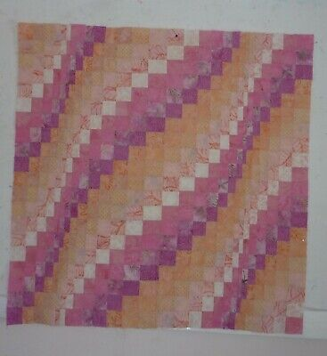 Small Batik Bargello Quilt Top Unfinished 40X39 Baby Lap Wheelchair