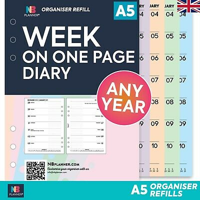 WEEK on TWO PAGES lined diary FILOFAX A5 / PERSONAL organiser compatible