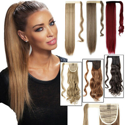 NATURAL Ponytail Clip In Hair Extension Wrap Pony Tail Fake Hairpiece as Human T