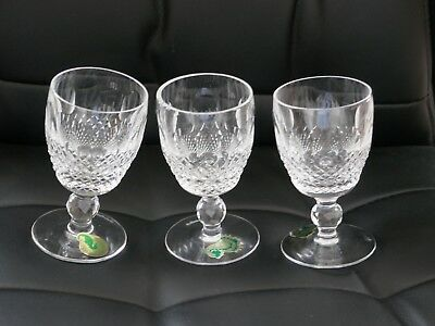 Waterford Crystal Colleen 3 Sherry Glasses.