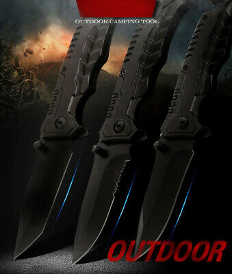 Spring Assisted Opening BLACK Tactical Rescue Folding Pocket Knife