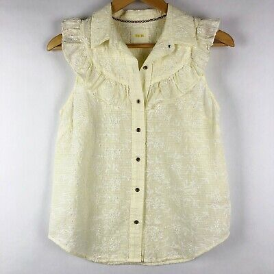 c49fa93150b ANTHROPOLOGIE MAEVE IVORY Floral Ruffle Button Front Blouse Sleeveless Size  2 -  25.00