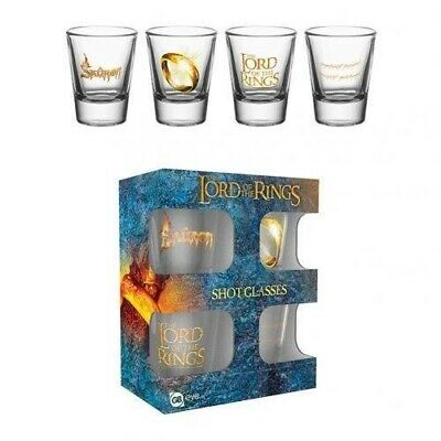 The Lord Of The Rings 4pk Shot Glass Set Present Gift Birthday Adult. Unbranded