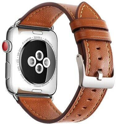 Brown Leather MESH XL Wristband Band Strap For iWatch 42MM APPLE WATCH Series 4