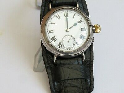 Iwc Stauffer  Solid Silver  Trench Whristwatch With Borgel Case