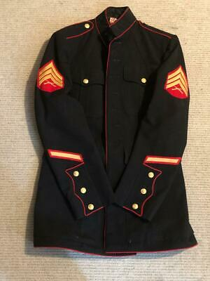 Vintage Usmc Coat Men's Poly/wool Gabardine Marine Corps Dark Blue 40 Long