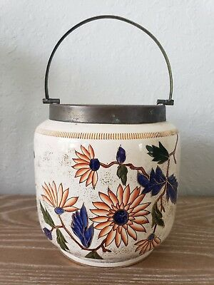 Antique Biscuit or Cracker Jar, Flowers.  1