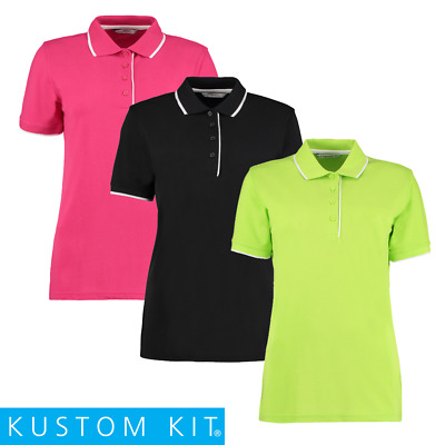 Kustom Kit LADIES POLO SHIRT CONTRAST PIPING COLLAR CASUAL TOP WORK SIZES 8-18