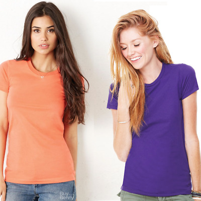 Bella Ladies T-Shirt 100% Soft Cotton Top Quality Plain Slim Fit Colours Women's