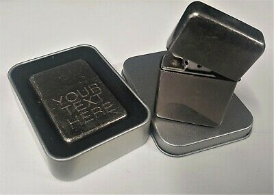 Engraved ANTIQUE SILVER Personalised Star Petrol Lighter Valentines Birthday
