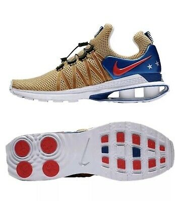 18fc4167fe40 Nike Shox Gravity Mens AR1999-700 Metallic Gold Red Blue Running Shoes Size  9