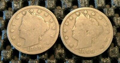 "1898 & 1899 Liberty Head ""V"" Nickel Lot! Free Shipping!"