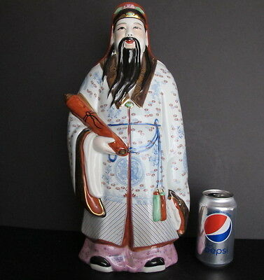 """Large Vintage Chinese Famille Rose Fu Star God Deity Immortal Statue 17.75"""""""