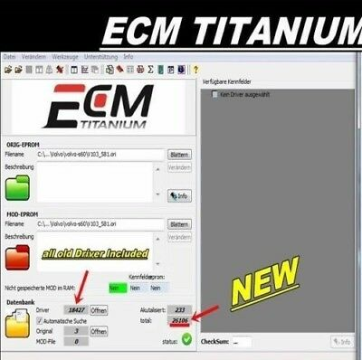 ECM Titanium 1.61 18.000 driver + ECM Titanium 26.000 Driver. Due software