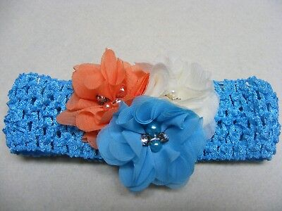 NWT Headband Turquiose Blue Orange Cream Boutique Hair Accessories Handmade