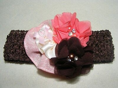 NWT Headband Brown and Pink Flowers Boutique Style Hair Accessories Girl