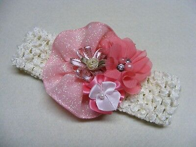 NWT Headband Cream and Pink Flowers Boutique Style Hair Accessories Girl