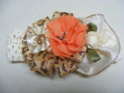 NWT Headband Cream Gold Animal Print Peach Flowers Boutique Hair Accessories