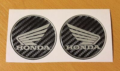 Honda Wings stickers/decals - 60mm Carbon Fibre Effect - HIGH GLOSS DOMED GEL