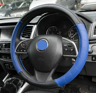 Blue Leather Look Stitched Steering Wheel Cover fits Mitsubishi Shogun