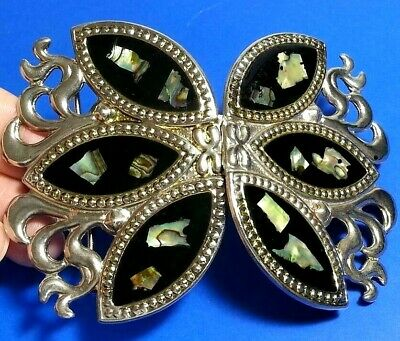 Vintage 2Pc Butterfly Belt Buckle Sash Scarf Holder Mother Of Pearl Inlay Enamel