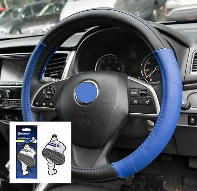 Blue Leather Look Stitched Steering Wheel Cover for Seat Toledo All Models