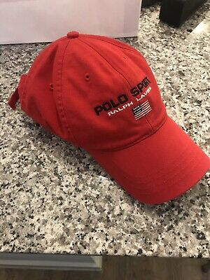 POLO SPORT HAT Ralph Lauren Vtg USA Made Fitted Long Bill Red Cap S ... 81ccd8c23a4c