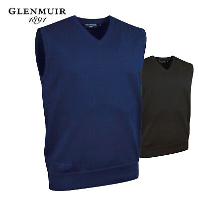 Glenmuir Men's Smart Cotton Sweater Vest V Neck Plain Sleeveless Slipover New