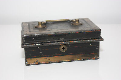 Vintage metal lockable storage box with inner compartment , 17 x 10 x 7cm