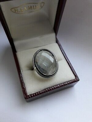 Vintage Sterling Silver Ring with Large Faceted Clear Stone. 7.5g!