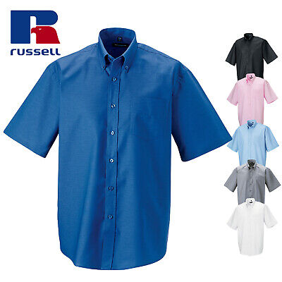 Russell Mens Short Sleeve Easy Care Oxford Smart Button Down Work Business Shirt