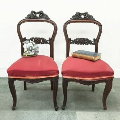ON SALE - Antique French Chairs Pair of Louis Style Carved Walnut Carved - j067