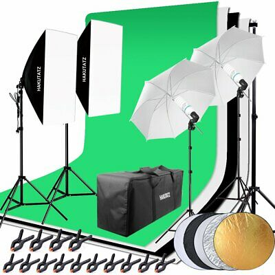 Softbox Kit Green Screen Lumiere Eclairage Photo Studio avec 2x135W 2x45W