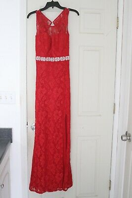 3a9ebe338d7 Jodi Kristopher red lace illusion neck open back prom formal dress jrs size  7