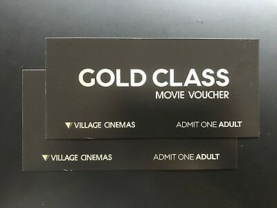 2 (two) Adult Gold Class Movie tickets/vouchers -Expires 30 Sep 2019. RRP $84.00
