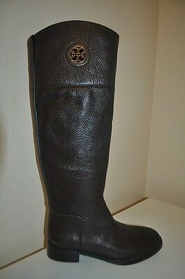 d72572eabfcd03 NEW Tory Burch JUNCTION Gold Logo Riding Boot Flat Equestrian Brown Leather  5.5