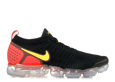 Nike Men's Air Vapormax Flyknit 2 Shoes 942842-005 Black/Laser Orange Sneakers