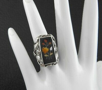 Antique Victorian Pietra Dura Stone Mosaic Ring Ornate Solid Sterling Silver 4.2