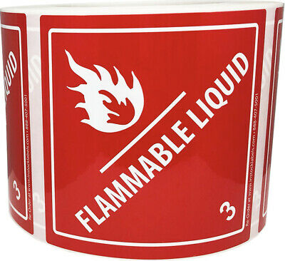 Bopp Class 3 Flammable Liquid Hazard Stickers, 4 x 4 Inches, 500 Labels Total