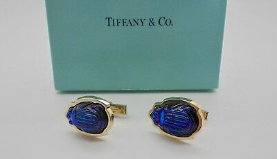 Authentic Vintage Tiffany & Co. Favrile Glass Scarab Gold Cufflinks VERY RARE