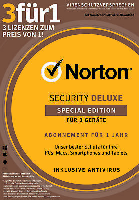 NORTON (Internet) SECURITY DELUXE (2019) *1 für 3* / 1-Jahr PC/Mac/Android / KEY