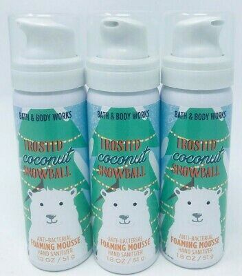 3 Bath Body Work Frosted Coconut Snowball Anti Bac Foaming Mousse Hand Sanitizer