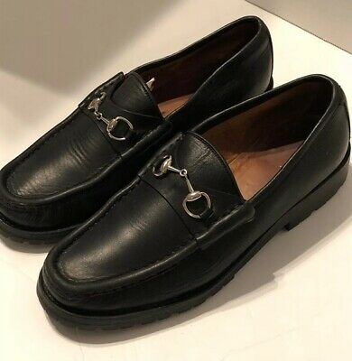3b85a1bc7bd Gucci Classic Lug Sole Moccasin HorseBit Black Leather Loafers Women s Size  ...