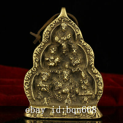 China old Antique Tibet Temple copper handmade Buddha hang pendant