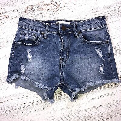 93a5519367 RSQ Jeans Girl's Shorts Size 10 Tilly's Distressed Mid Rise Venice Denim