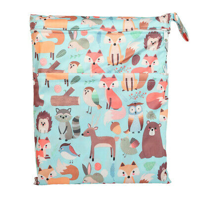 Wet Dry Bag Baby Cloth Diaper Nappy Bag Double Zippers Pocket Animal Fox Bear