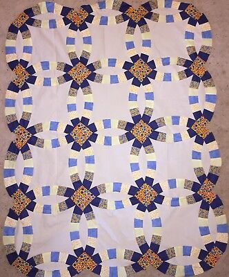 """Blue Double Wedding Ring Baby or Lap Quilt TOP 39"""" x 50"""" Handsewn"""