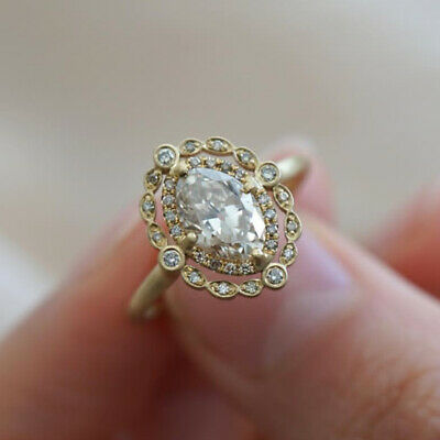 Vintage 18k Yellow Gold Plated Rings for Women Oval Cut White Sapphire Size 6-10