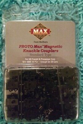 Walthers Proto Max Magnetic Knuckle Couplers #920-6000. HO scale. 20 pairs. NIB